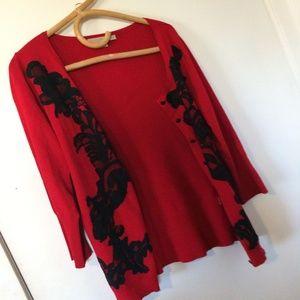 Boston Proper Sweater Red and Black